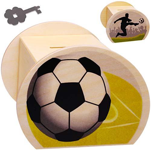 Unbekannt große Holz - Spardose - Fußball / Fußballspieler - mit Schlüssel & Schloß - stabile Sparbüchse - 11,5 cm - Sparschwein - für Kinder & Erwachsene - Kinderspard..