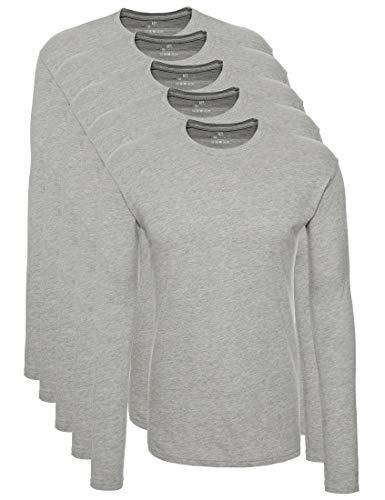 Lower East 5er Pack Herren Langarmshirt mit Rundhals-Ausschnitt, in verschiedenen Farben 5er Pack, Grau, X-Large