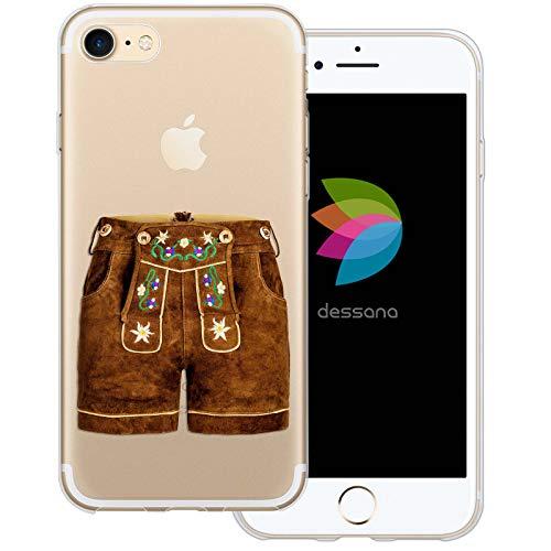 dessana Oktoberfest München Transparente Silikon TPU Schutzhülle 0,7mm dünne Handy Tasche Soft Case für Apple iPhone 8 Lederhose kurz