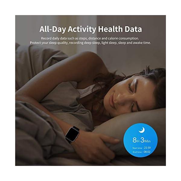 Smart Watch Bluetooth 5.0 Reloj Inteligente Impermeable IP68 Actividad GPS Sueño Pulsómetros Podómetro Caloría Deporte Fitness Música Control Despertador Pantalla Táctil Completa para Android iPhone 6