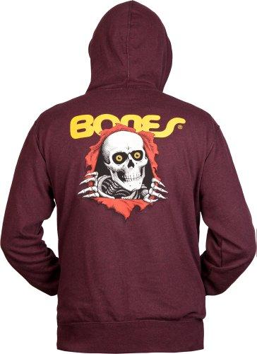 Powell Peralta Ripper Terry Zip Hooded Sweatshirt, Herren damen, kastanienbraun (Herren Produzent Hoodie)