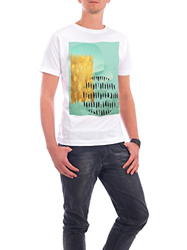 "Design T-Shirt Männer Continental Cotton ""Mint Abstract No. 2"" - stylisches Shirt Abstrakt von Linsay Macdonald Weiß"