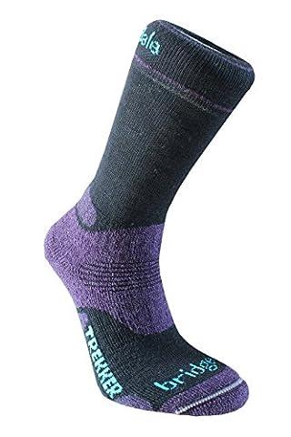 BridgedaleWomen's WoolFusion Trekker Socks - Black/Purple, Size 5 - 6.5