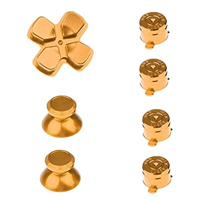MagiDeal Metal Bullet Buttons ABXY Buttons + Thumbsticks Thumb Grip and Chrome D-pad for PS4 DualShock 4 Controller Mod Kit Gold by MagiDeal