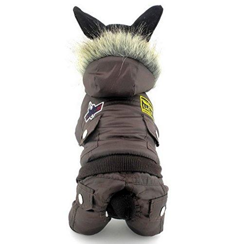 ranphy Hund Katze Schnee Anzug Kälte Coats Airman Fleece Winter Mantel Overall wasserdicht Schneeanzug für Hunde Welpen unter 9kg (IT 'S Run Small, nehmen die nächste Größe bitte) (Jungen-brown-leder-kleid-schuhe)