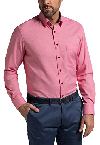 Eterna Long Sleeve Shirt Comfort Fit Oxford Structured Rosso