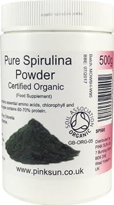 Spirulina Powder Organic 500g - Certified Organic by the Soil Association - PINK SUN by PINK SUN Ltd
