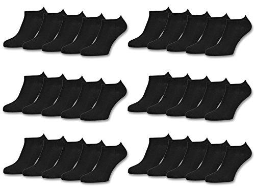 sockenkauf24 10 | 20 | 30 Paar Sneaker Socken Damen & Herren Schwarz & Weiß Baumwolle (35-38, 30 Paar | Schwarz)