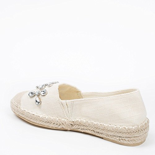 Ideal Shoes Espadrilles Strass Leinwand Edeline Weiß - weiß