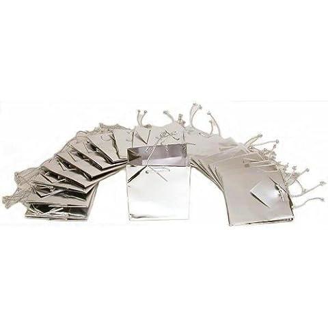 Findingking Argent - 20 sacs cabas Shopping cadeau métallique de présentation de 11 cm