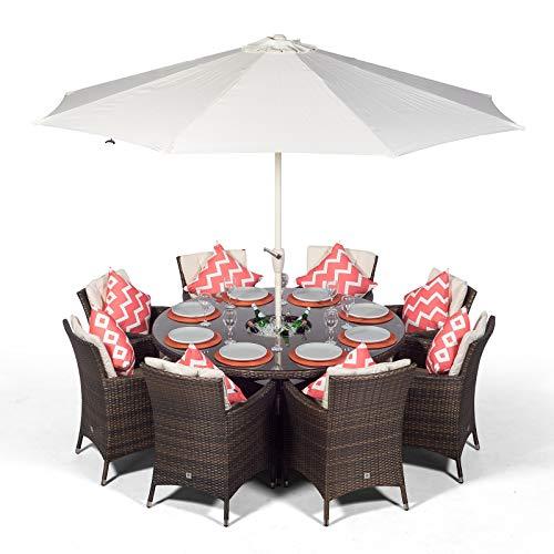 Savannah Rattan Gartenmöbel Set für 8 Personen Braun | Polyrattan Garten Möbel Sitzgruppe mit rundem Tisch, Getränkekühler und Sonnenschirm | Lounge Möbel Terrasse, Balkon Möbel Set | Mit Abdeckung (Eis-kühler Für Terrassen)