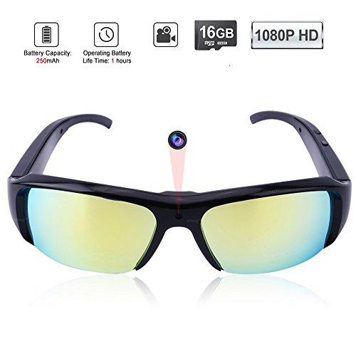 WISEUP 16GB 1920x1080P HD Spionage Kamera Sonnenbrille Sportkamera DV Camcorder mit Aufzeichnung