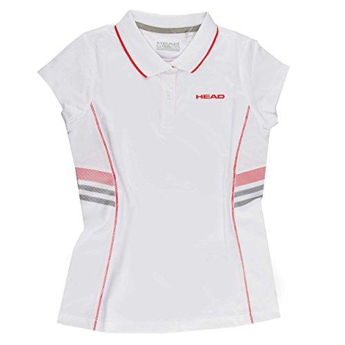 Head Club Technical - Polo para niña, color blanco / rojo, talla 9-10