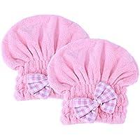 Lurrose 2pcs gorro de ducha Coral Fleece gorro de baño banda elástica seca toalla Wrap Hat (rosa)