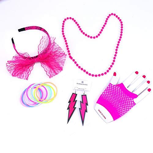 Monrocco 80er Jahre Kostüm Zubehör für Frauen, Spitze Stirnband Ohrringe Fischnetz Handschuhe Halskette Armband für 80er Jahre Party