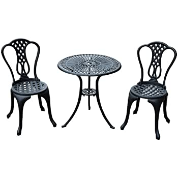 Fabulous Homcom Piece Patio Cast Aluminium Bistro Set Garden Outdoor  Furniture Table And Chairs Shabby Chic Style With Table Bistro Alu With Alu  Sthle ...