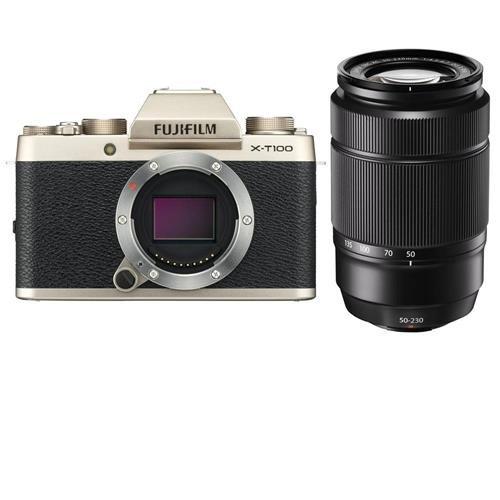Fujifilm X-T100 Mirrorless Digital Camera Body, Champagne Gold - with XC 50-230mm (76-350mm) F4.5-6.7 OIS II Lens Black