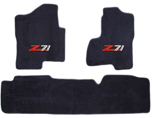 Chevy Silverado / GMC Sierra (Extended Cab) Black Custom Fit Carpet Floor Mat Set 3 Pc (2 Fronts / Rear Runner) with Z71 Logo on fronts - Fits 2007 08 09 10 11 12 13 by Avery