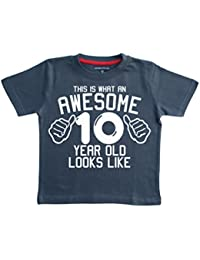 Edward Sinclair This What AN Awesome 10 Year Old Looks Like Navy Boys 10th Birthday T-Shirt In Size 12-13 Years With A White Print Shirt