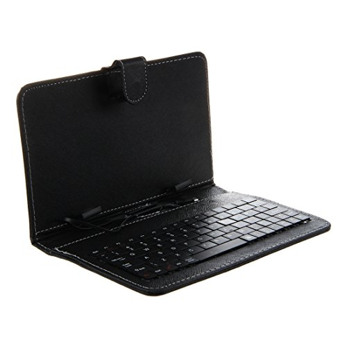 tastiera tablet 7 pollici SODIAL (R) Custodia protettiva Mini USB tastiera + Micro USB M / F Cavo per Tablet PC da 7 pollici - nero