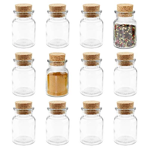 12 WELLGRO® Gewürzgläser mit Kork Verschluss - 150 ml, 6 x 10 cm (ØxH), Gläser Made in Germany -