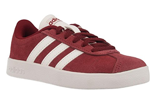 Adidas VL Court 2.0K–Chaussures Sportives, Unisexe Enfant, Noir, (negbas/Ftwbla/negbas) Rouge