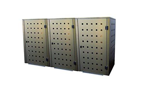 Mülltonnenbox Edelstahl, Modell Eleganza CircB 120 Liter als Dreierbox