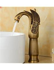 pengweiLave main lavabo robinet robinet cuivre antique de meubles-lavabos sur l'or continental chaud et froid plus élevé