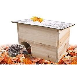 Gardigo 90568 – Casa per Riccio con Tetto Apribile Casetta Ricci in Legno Hedgehog House con Ingresso Labirinto Riparo per Porcospino perfetto per il Letargo Invernale