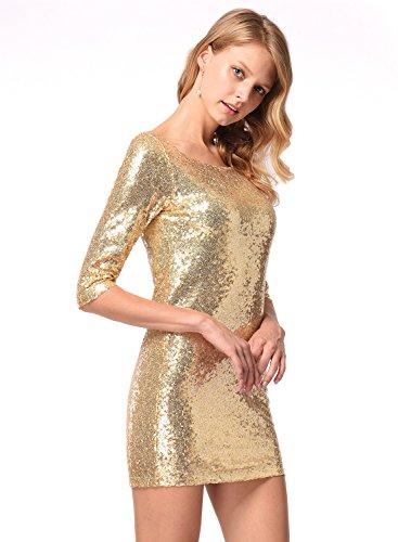 Frauen halbe Hülse Pailletten-Kleid tief V zurück Clubwear Abendkleid Gold S - 4