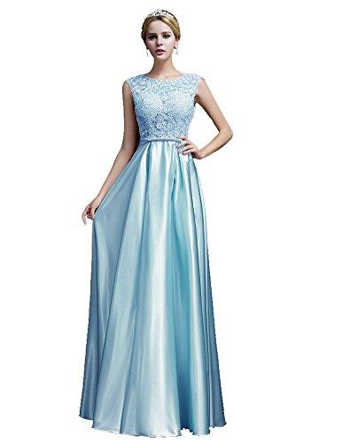Beauty-Emily Robe de mariée barbie Sans manche Dentelle Longue Bowknot V-Back Prom Night Fête Maxi Robes de soirée Bleu clair