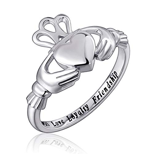 Flyow Fashion Jewelry 928 Sterling Silber Claddagh Ring Gravur Love Treue Freundschaft