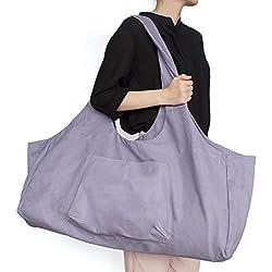 Zip Bolsa de colchoneta de yoga Grande, Bolsa de asa de yoga Aolvo con correa, Bolsa de lona de algodón 2 bolsillos adicionales para 2 Esteras, 2 toallas, Llave, Púrpura