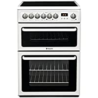 Hotpoint HAE60PS 60cm Double Oven Electric Cooker with Ceramic Hob - Polar White