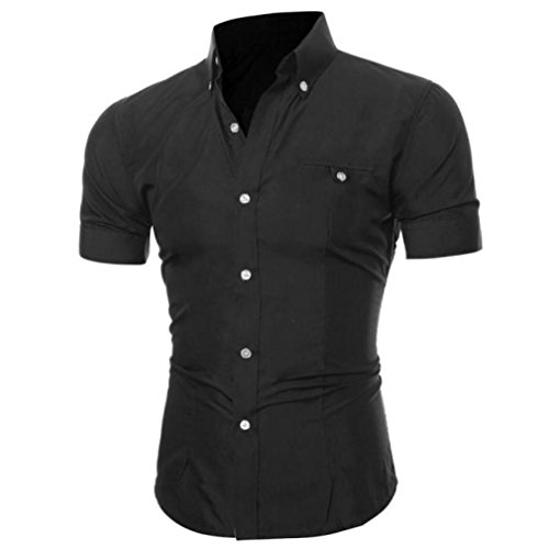 Herren Hemd T-shirt,Dasongff Herren Hemden Mode Luxus Business Stilvolle Slim Fit Kurzarm Freizeithemd Businesshemd Hemd Shirt Tops Sieben Farben Sommer (3XL, Schwarz) (Anzug, Hemd Schwarzen Blaues)