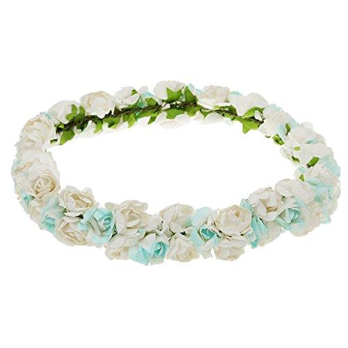 MagiDeal Bandeau de Cheveux Guirlande de Fleur Style Boho pour Mariée Bleu Ciel et Blanc