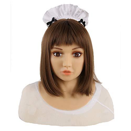 Männlich Kostüm Asian - MSFLY Weiche Silikon realistische weibliche Kopfmaske handgemachte Puppe Gesicht für Crossdresser Transgender Halloween-Kostüme,Asian