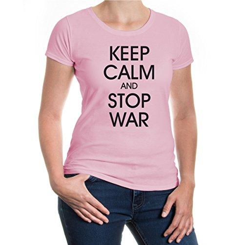 buXsbaum® Girlie T-Shirt Keep calm and stop War Lightpink-Black
