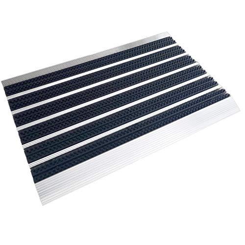 Kettelservice-Metzker® Alu Fußmatte 39x60cm incl. Sauberlaufmatte 60x90cm in Hellgrau Schwarz & Fleckentferner | stilvolle Bürstenmatte im Sparset