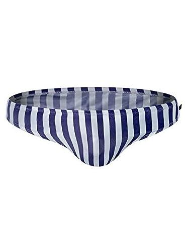 Legou Men's Striped Beach Swim Brief Swimsuit Blue+White L