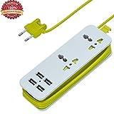 Multipresa Ciabatta Elettrica a EU plug, 2 Prese Elettriche + 4 Porte USB Presa Multipla Protezione da Sovraccarico, 1.6 Metro Cavo Prese per Viaggio e Casa