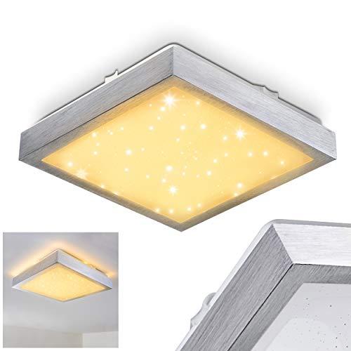 LED Deckenleuchte Sora, eckige aus Metall in Silber mit Sternenhimmel-Optik, 12 Wattm 900 Lumen, Lichtfarbe 3000 Kelvin (warmweiß), IP44, auch für das Badezimmer geeignet