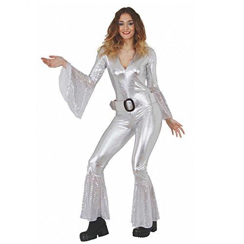 0ad17fc5385 Mortino Kostüm Disco Woman Jumpsuit silber Fasching 70er Jahre ABBA  Sängerin (L)