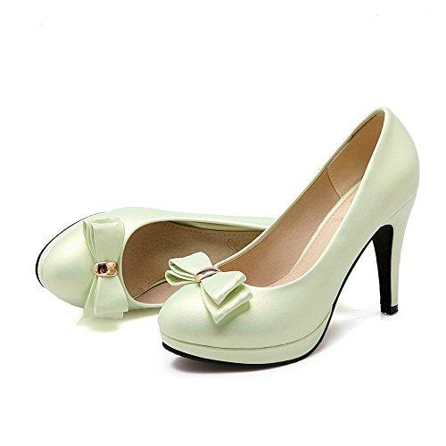 VogueZone009 Femme Rond Tire Pu Cuir Mosaïque à Talon Haut Chaussures Légeres Vert