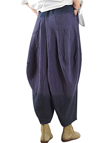Youlee Donne Vita elastica Pantaloni Harem Grandi Gambe Profondo blu