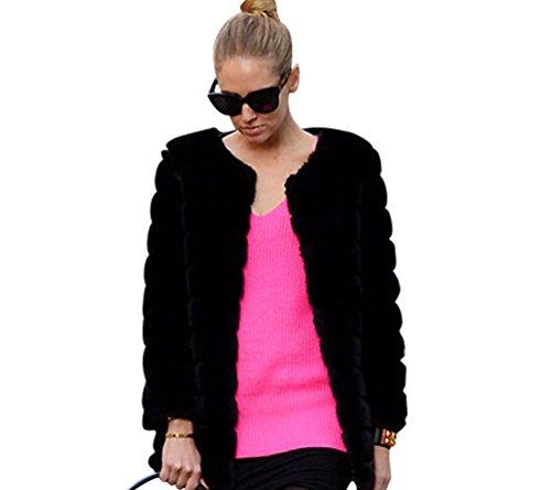 Yilianda 2017 moda corto giacca pelliccia sintetica donna cappotto invernale nero l