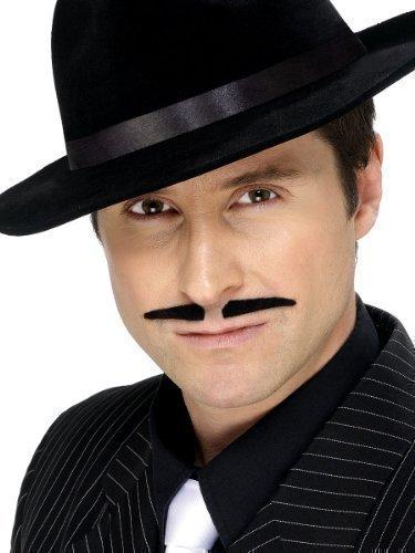 Herren Zum Aufkleben Falsch Falscher Schwarz Spiv 1920er Jahre Gangster Kostüm Kostüm Schnurrbart Oberlippenbart