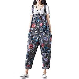 Mallimoda Damen Weite Bein Latzhose Jumpsuits Denim Overalls Printed Baggy Hosen