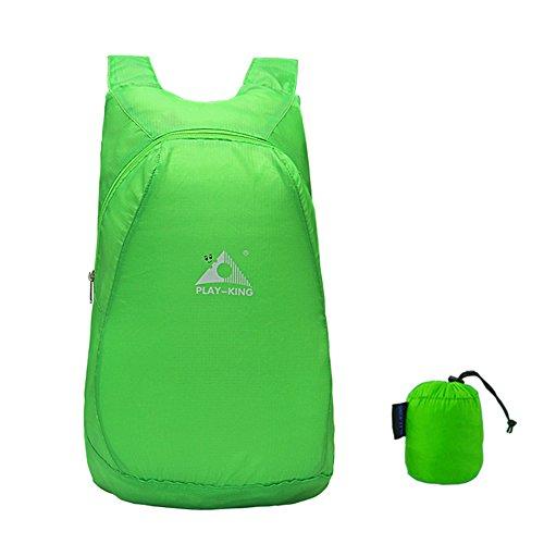 SLHP Wasserdichter Outdoor Rucksack, Faltbarer Reiserucksack, Camping Daypack 20L, Ultradünner Ultraleicht Tagesrucksack (Grün)