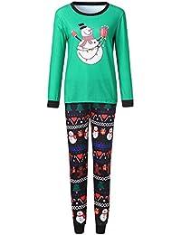 Zolimx 2PCS Christmas Cartoon Schneemann Print Top + Hose Zweiteilige Anzug Eltern-Kind-Abnutzung Home Pyjamas Weihnachtstuch
